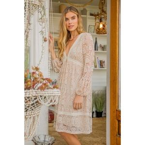 🆕 White/Cream Deep V Lace Dress
